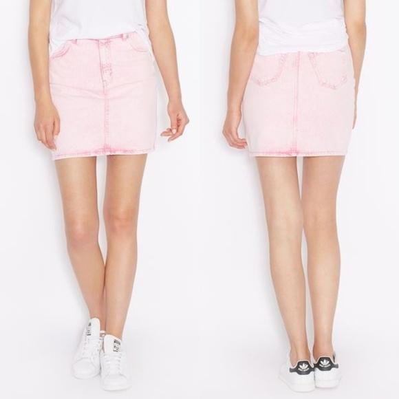 5644bda622 Topshop Skirts | Nwt Moto High Waist Pink Acid Wash Skirt | Poshmark